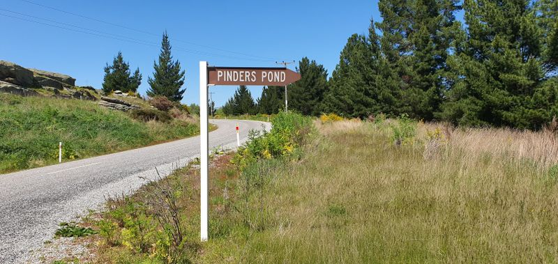 Road sign for Pinders Pond