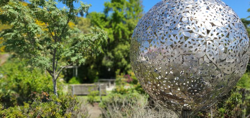 Teviot River Garden Steel Sculpture in garden Copyright to Roxburgh Guide